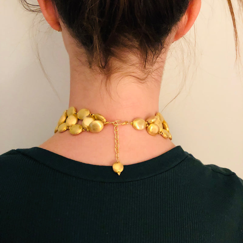Choker with Gold Chrochet Nuggets