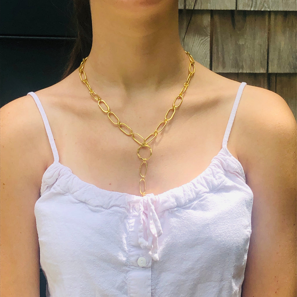 Rectangular Y  Link Lariat necklace