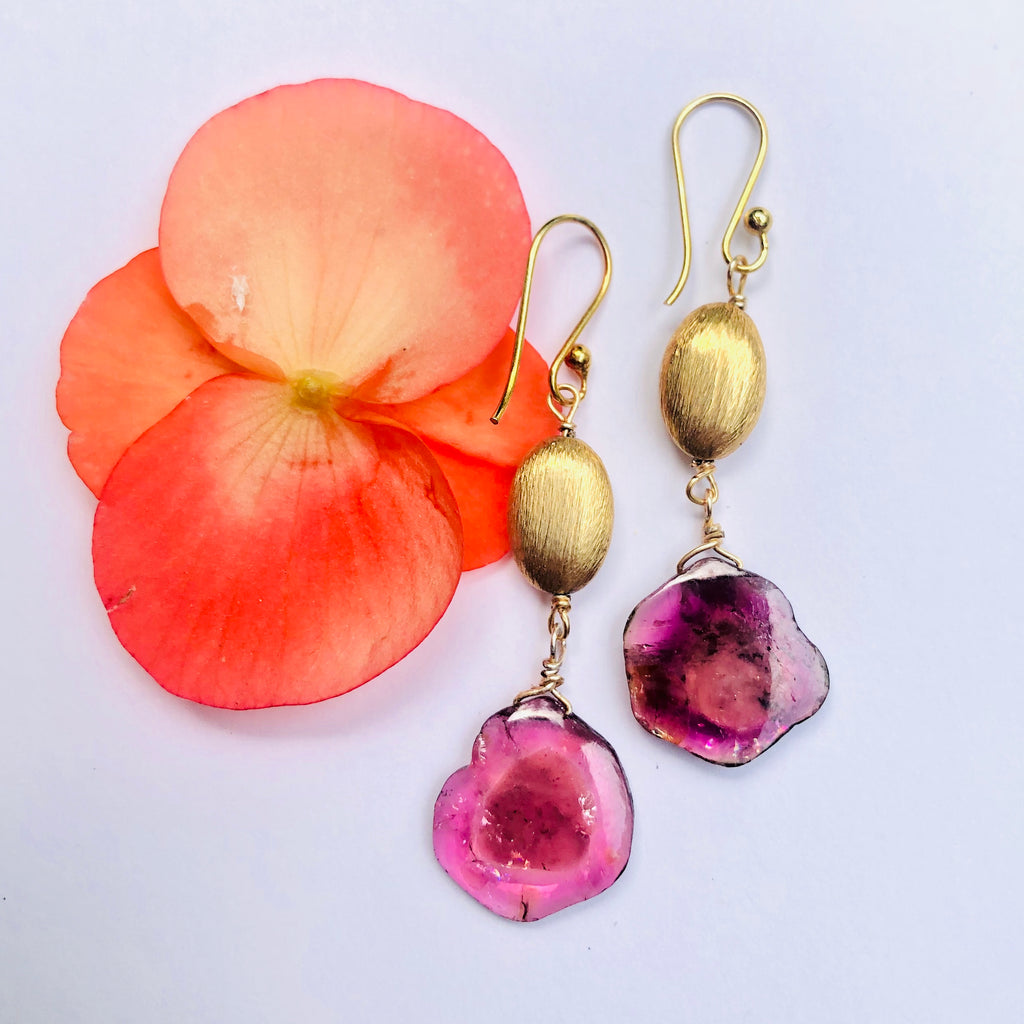 Pink Tourmaline Sliced Watermelon and Gold Drop Earring