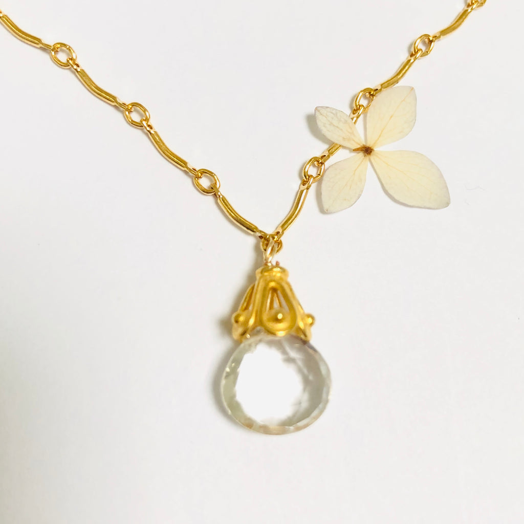 White Topaz Drop Gold Necklace