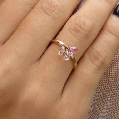 Pink and White Sapphire Drop Gold Enamel Ring / 1.75 Carats