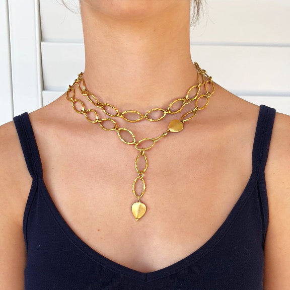 "Long Versatile 34"" Gold Link Chain"