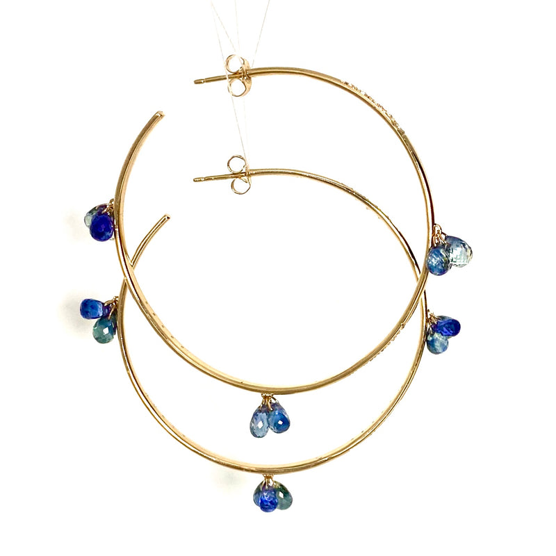 Blue and White Sapphire drops along with White Sapphire Pave Gold Hoop Earring / 12.5 Carats