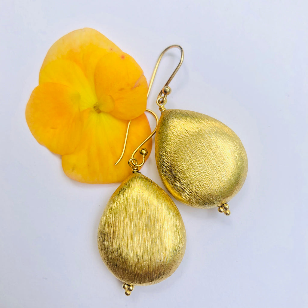 Gold Nugget Drop Earring