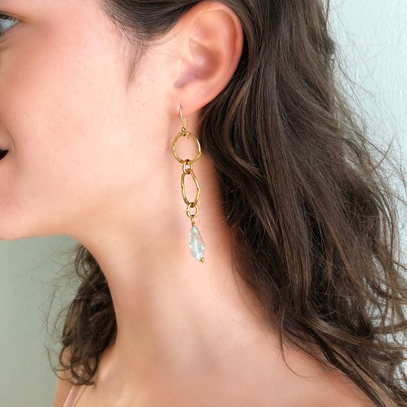 Aquamarine Gold Link Chain Earring