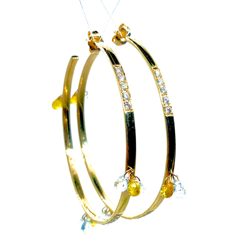 Diamond  Pave and White and Auburn Sapphire Drop Large Gold Hoop Earring / 11.5 Carats