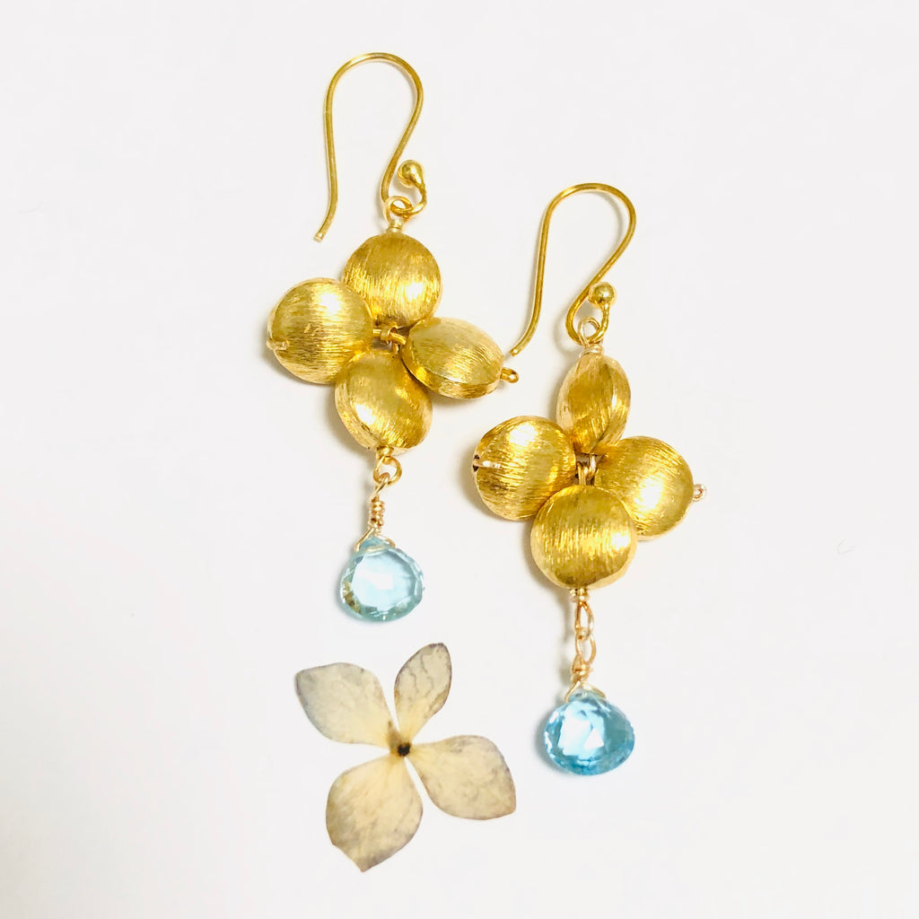Blue Topaz Floral Gold Drop Earring