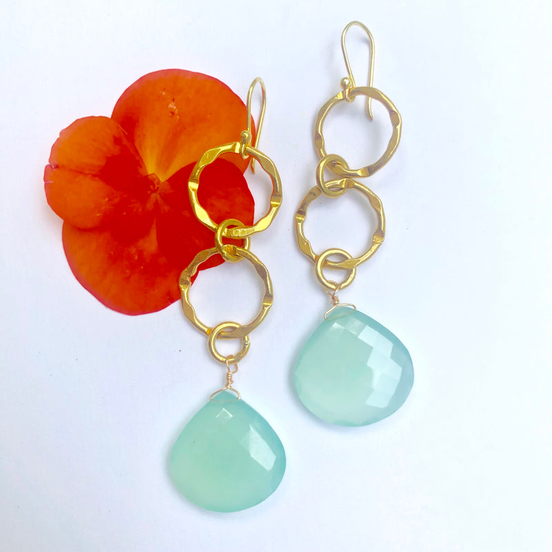 Aqua Chalcedony pear drops with gold link chain