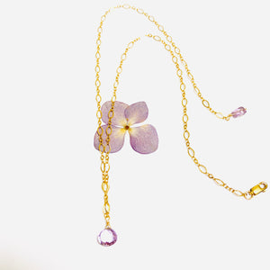 Amethyst Delicate Drop Gold Necklace