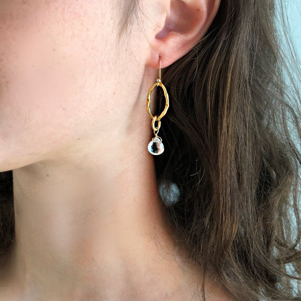 White Topaz Gold Link Drop Earring