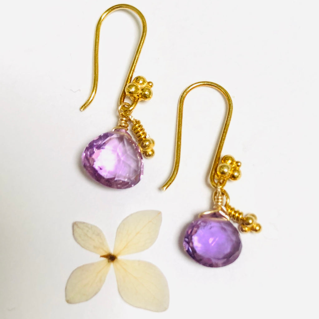Amethyst Delicate Gold Drop Earring