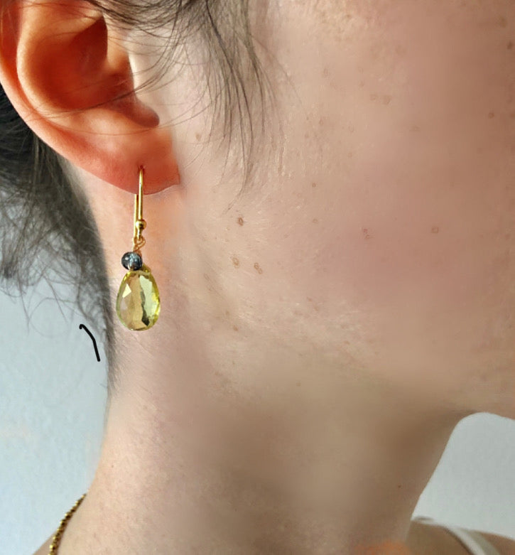Lemon Topaz and Sapphire Drop Earring