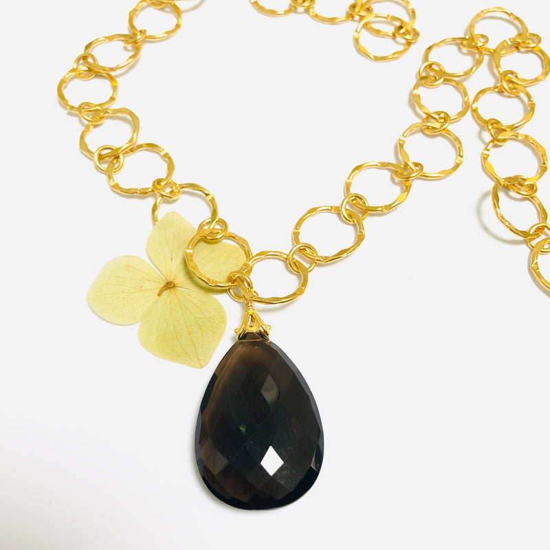 Large Smokey Topaz Faceted Gold Necklace