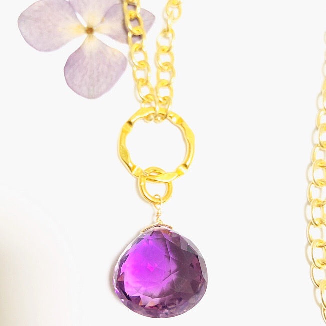 Amethyst faceted brilliant drop Necklace