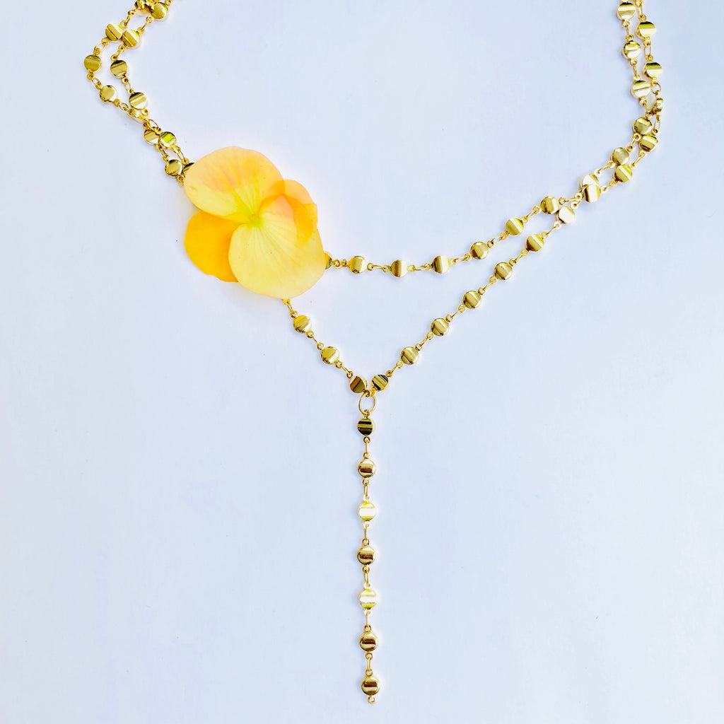 Double Dot Gold Y Chain necklace
