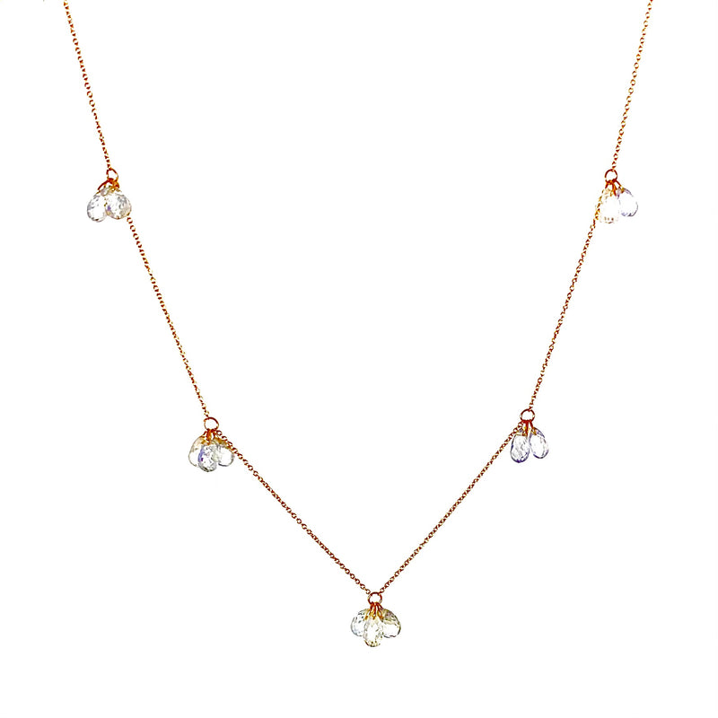18K Gold White Sapphire briolette 5 Cluster Necklace / 11.0 Carats