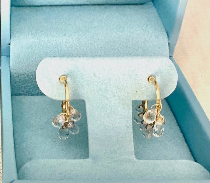White Sapphire Drop Small Gold Hoop Earring / 8.5 Carats