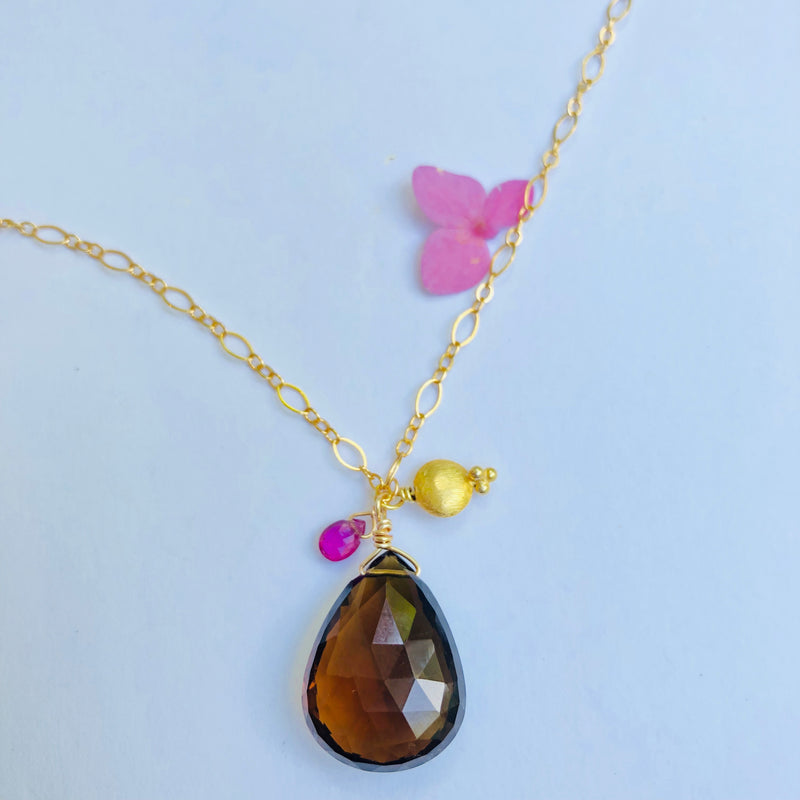 Smokey Topaz, Pink Tourmaline Charm Gold Necklace