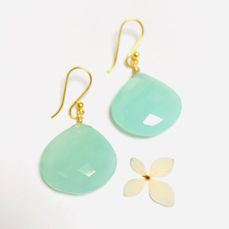 Aqua Chalcedoney Large Drop Gold Earrings