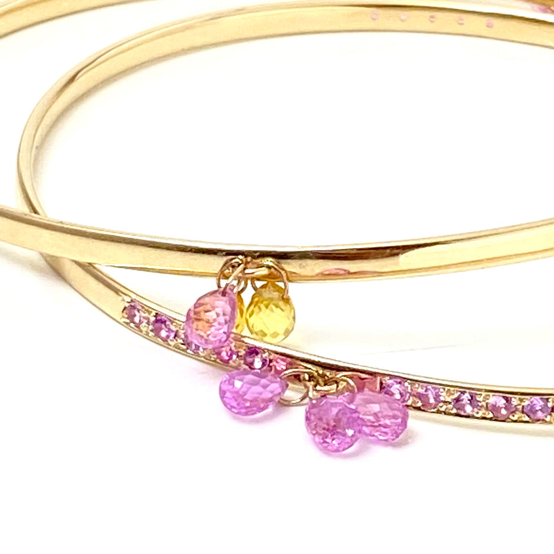Pink and Auburn Sapphire Drop Gold Bangle Bracelet