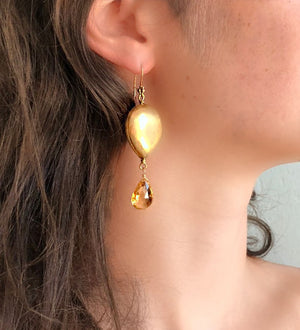 Citrine Gold Link Nugget Earring