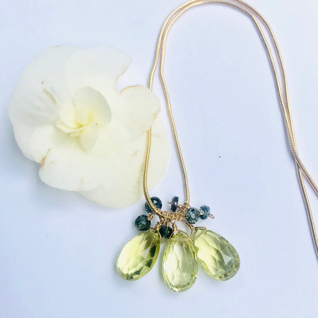 Lemon Topaz Drop and Sapphire Gold Necklace