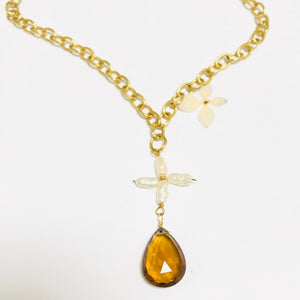 Citrine and Pearl Floral Gold Necklace