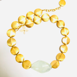 Aquamarine Nugget and Gold Disc Necklace
