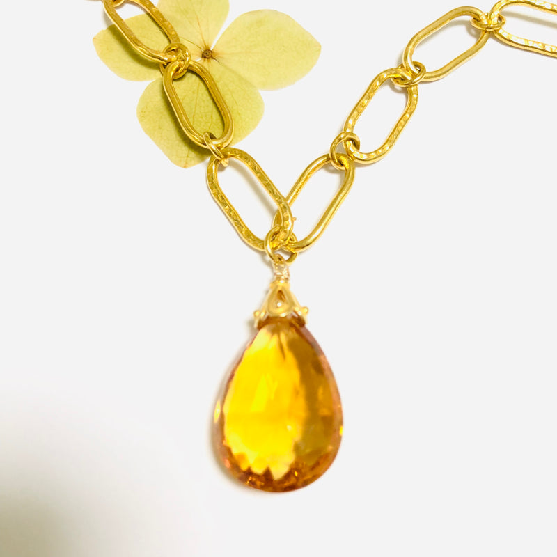 Citrine Faceted Gold Link Chain Necklace