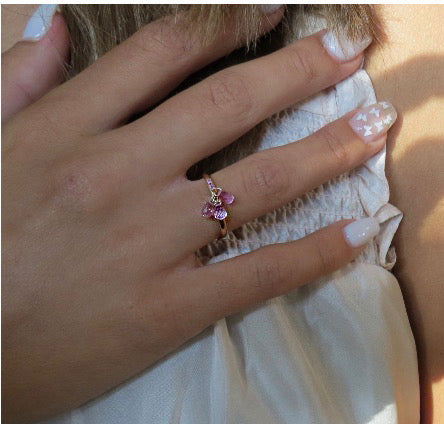 Pink Sapphire Drops with Pink Pave Gold Ring / 2.2  Carats