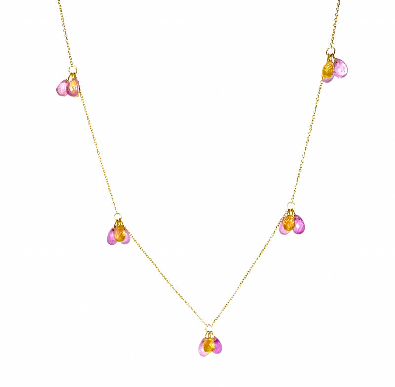 18k Gold Pink and Auburn 5 cluster Sapphire Briolette Necklace / 11.0 Carats