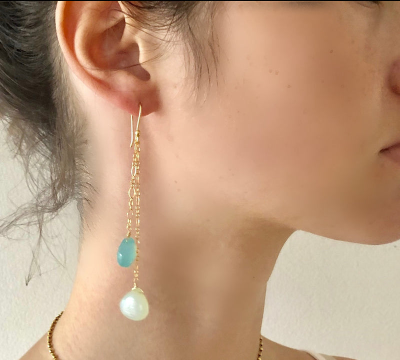 Double Chalcedony Delicate Drop Earring