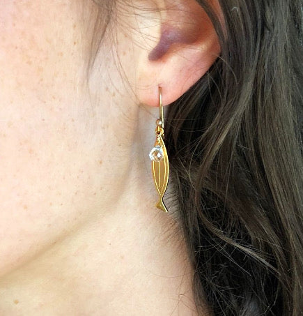 Gold Fish/Cross Earring With White Topaz