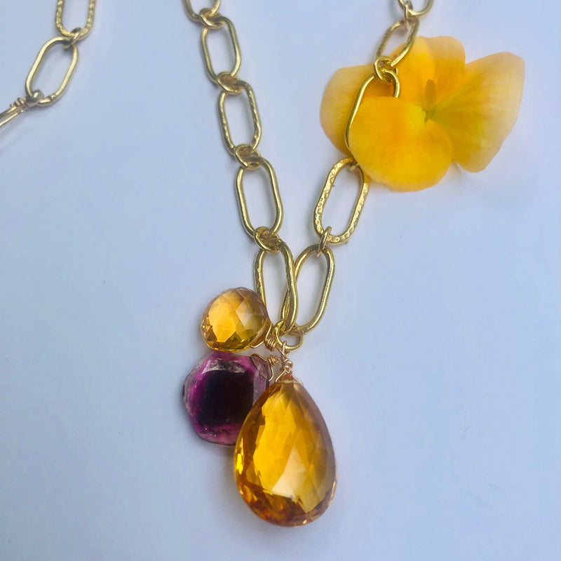 Citrine and Sliced Pink Tourmaline Gold Necklace
