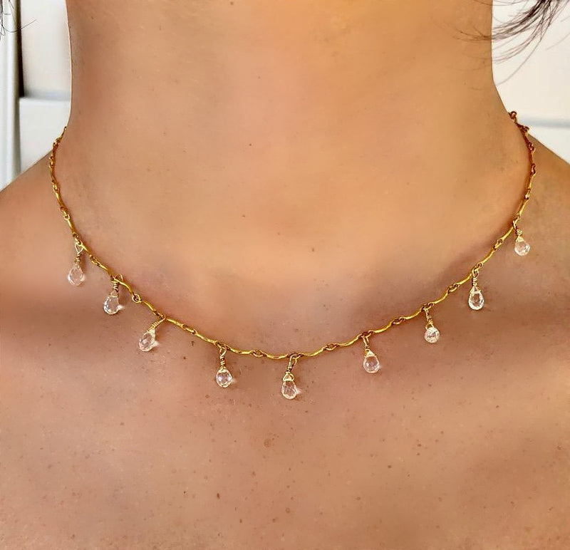 White Topaz Gold Bar Necklace