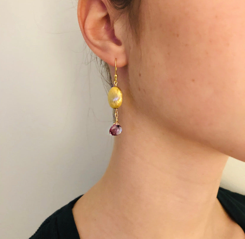 Amethyst Gold Nugget Drop Earring