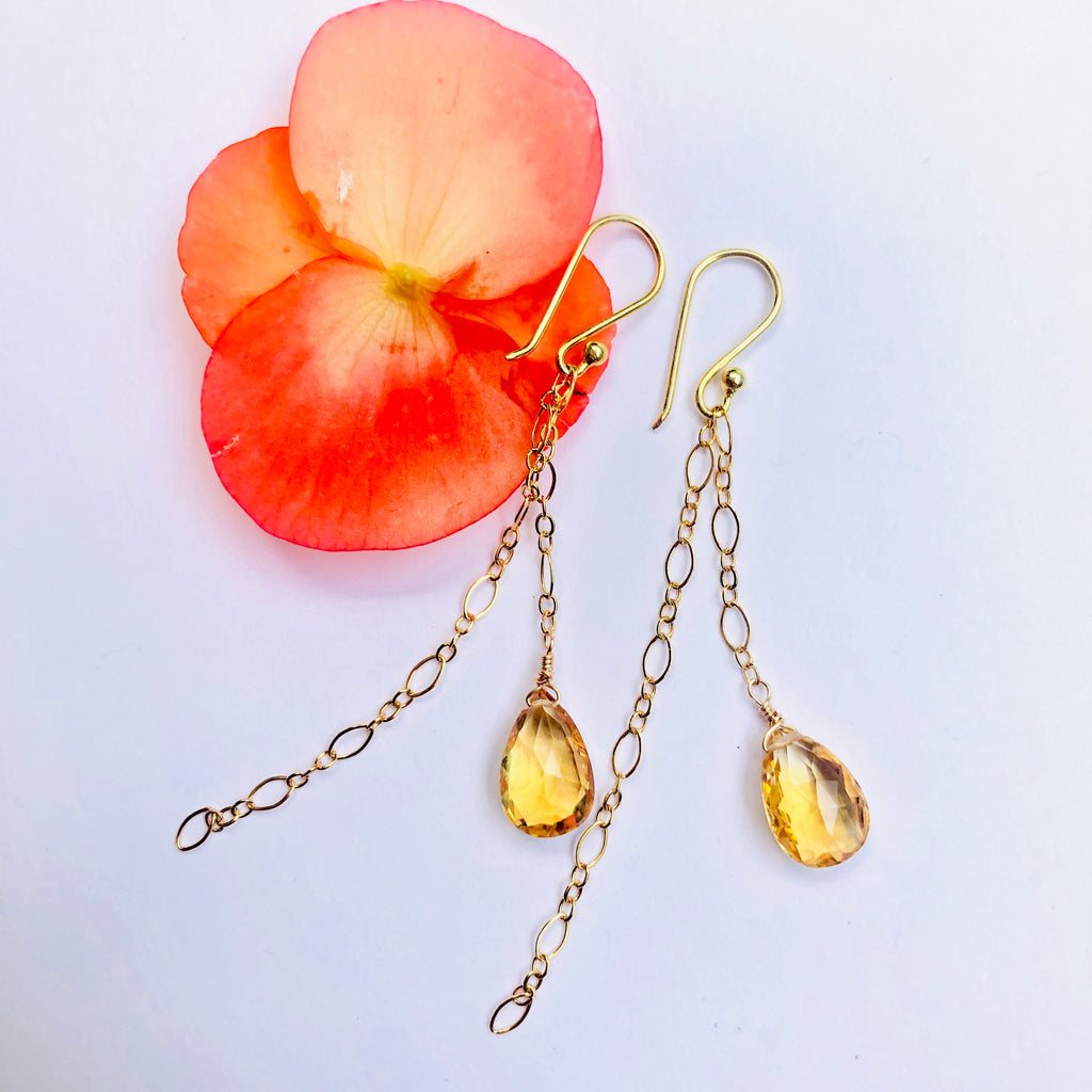 Citrine Delicate Double Chain Earring