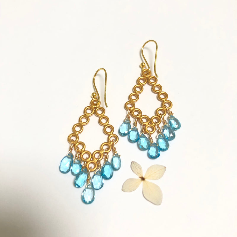 Blue Topaz Chandelier Drop Gold Earrings