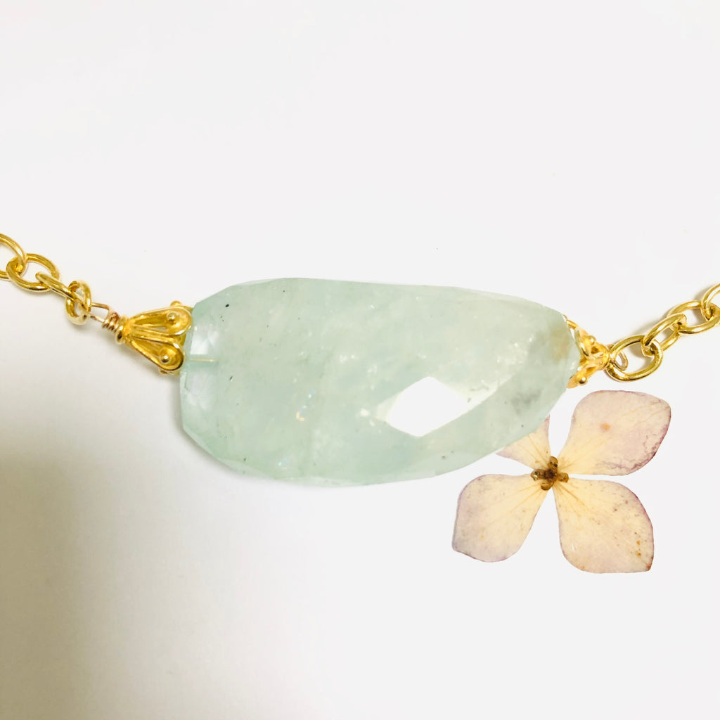 Aquamarine Nugget Gold Necklace