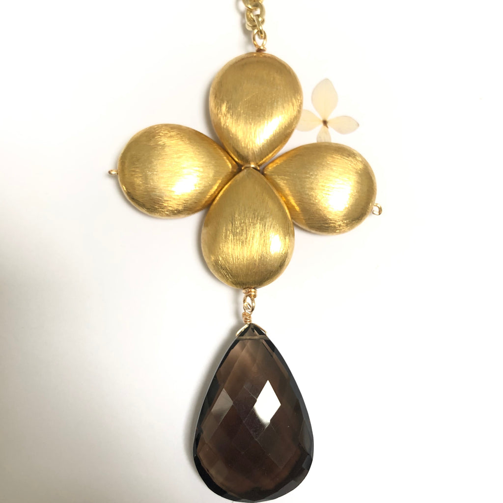 Smokey Topaz Faceted Gold Floral Necklace