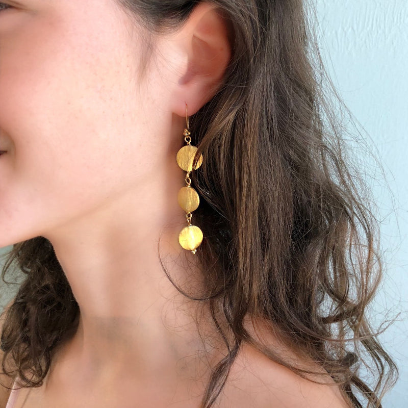 Gold Everyday Disc Long Earring