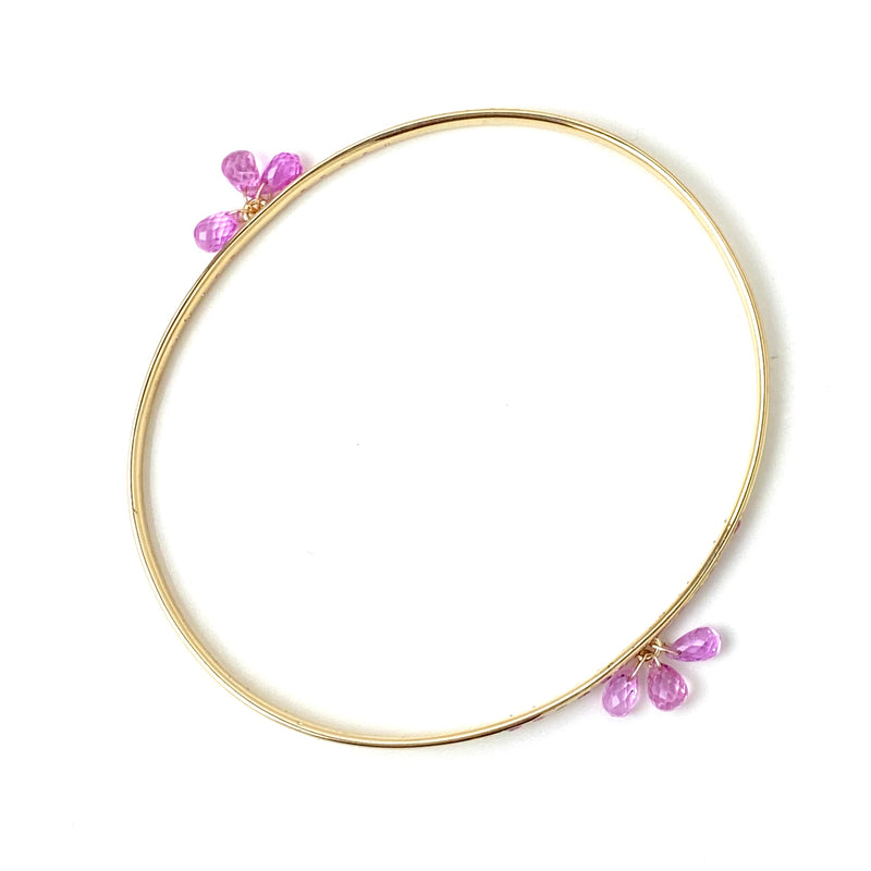Pink Sapphire Faceted Drops with Pink Sapphire Pave Gold Bangle Bracelet/ 4.32 Carats