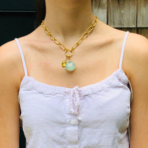 Chalcedony Pear Shaped Drop with Lemon Topaz Gold Necklace