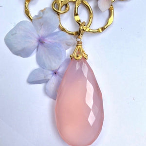 Pink Chalcedoney Gold Chain Necklace