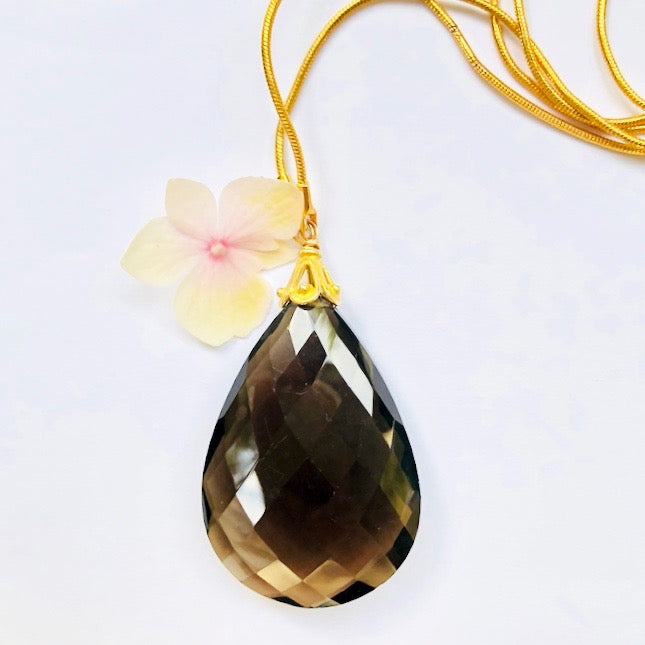 Faceted Smokey Topaz Gold Necklace