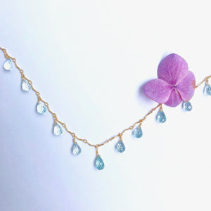 Blue Topaz Gold Chain Bar Necklace