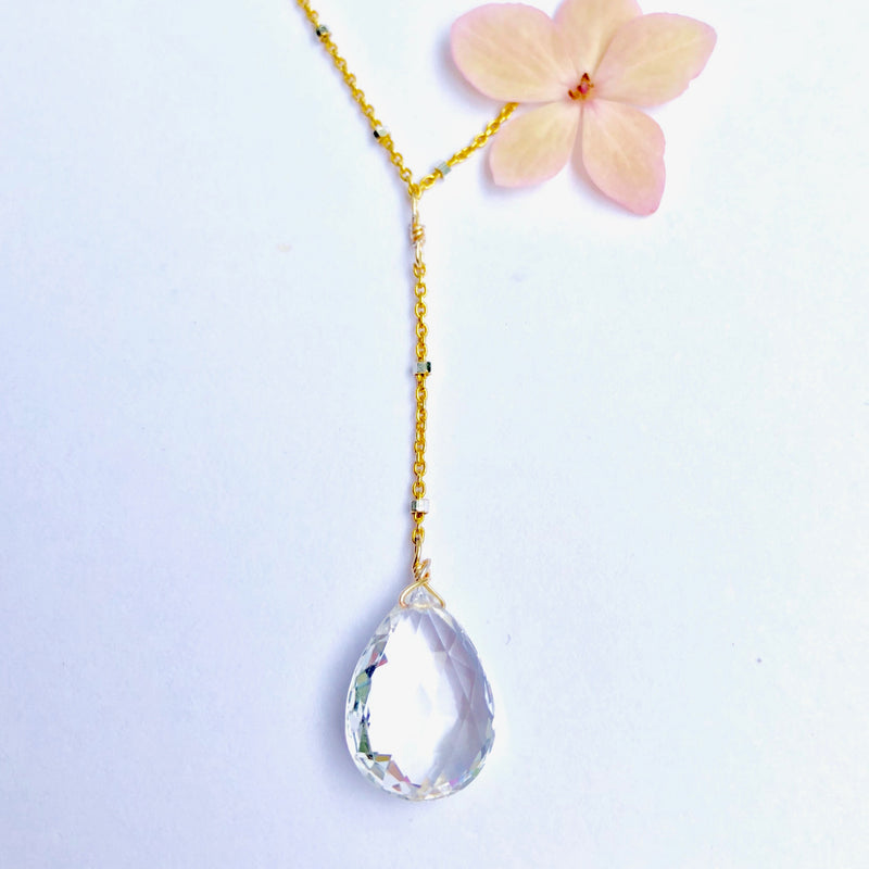 White Topaz Y Delicate Gold Necklace
