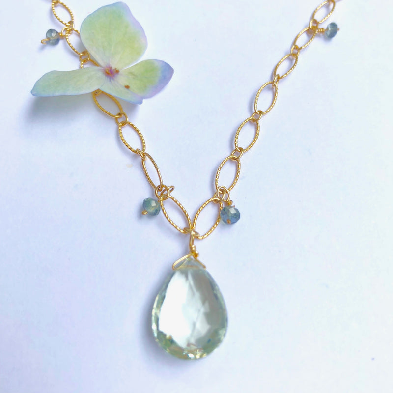 Green Amethyst/Sapphire Necklace