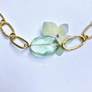 Green Flurite Gold Link Chain Necklace