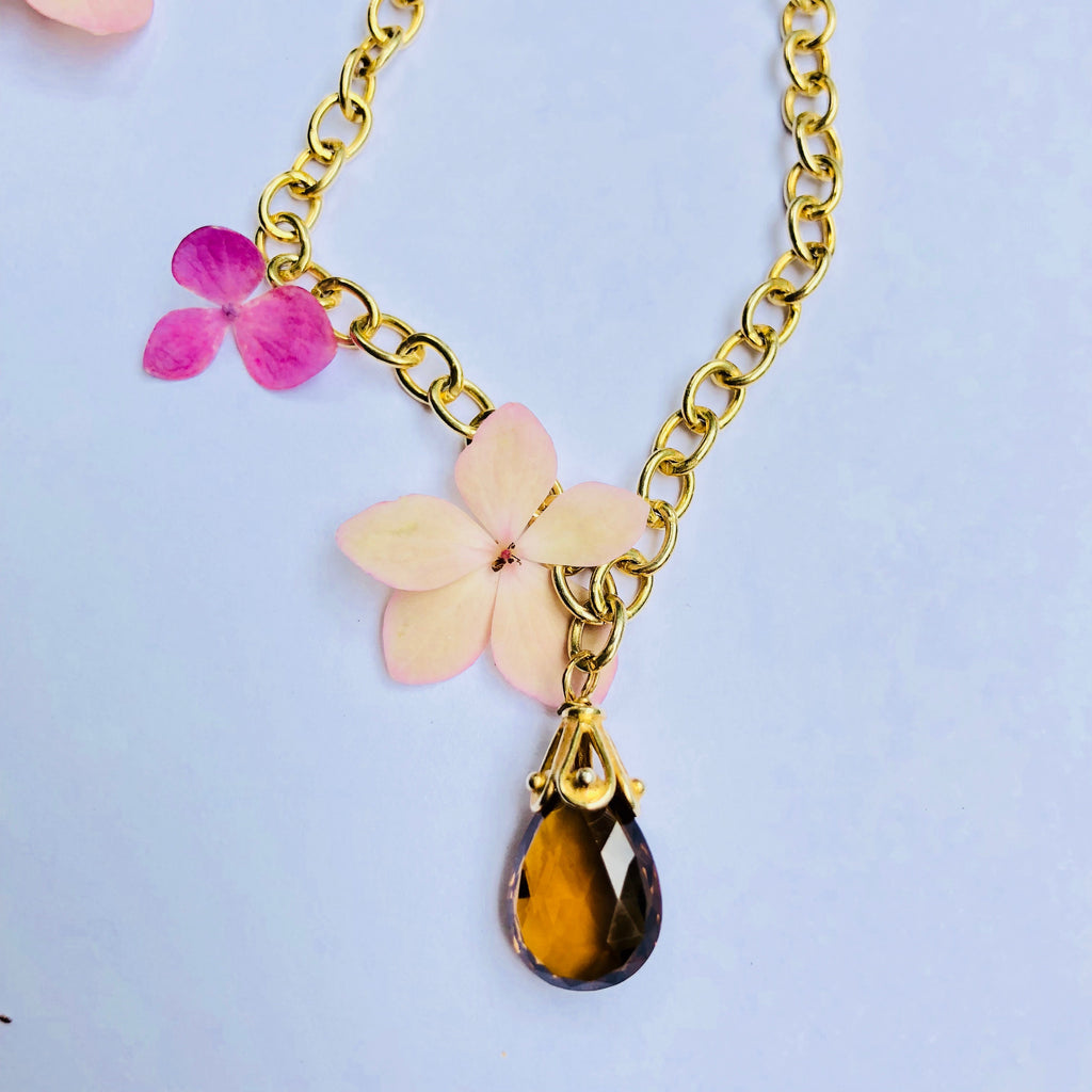 Smokey Topaz Gold Chain Necklace